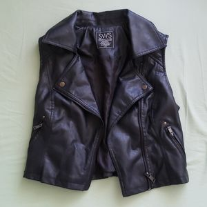 Cropped Pleather Jacket Vest